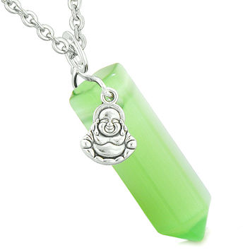 Happy Laughing Buddha Magic Amulet Crystal Point Pendant Neon Green Simulated Cats Eye 22 inch Necklace