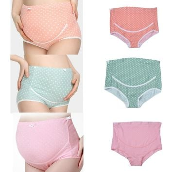High Quality Breathable Pregnant Women's Maternity Panties Dots Print  Adjustable Briefs For Pregnancy Underwear Lingerie