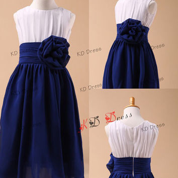 20% OFF !!! Royal-Blue Chiffon Skirt White Bodice Cute Flower Girl Dress Children/Kids Birthday Party Dress with Navy Blue Flower(Z1004)