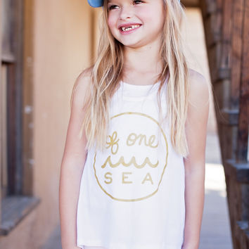 Girl's White High-Low Racerback Tank with Gold Logo