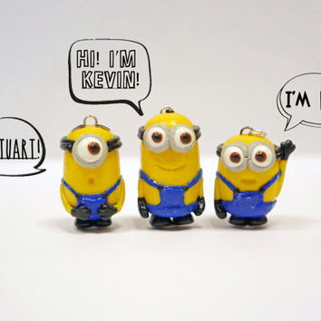 Minions movie (includes Stuart, Kevin, Bob) polymer clay charm with free keychain