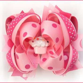 Birthday hair bow, Boutique hair bow, Big hair bows, Cupcake hair bow, Toddler birthday bow, Big pink bow, Boutique stacked bow, Hairbow