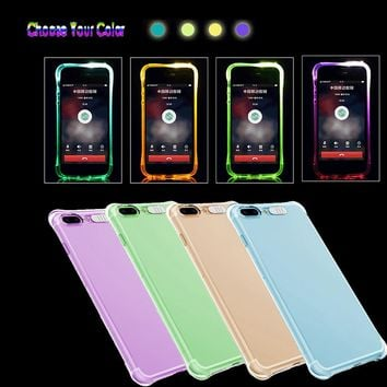 LED Flash Light Up Incoming Call Silicon  phone Protector For iPhone 8/7 Plus