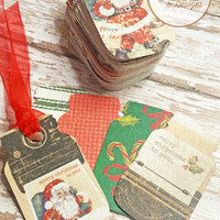30 Holiday Gift Tags, Mason Jar Tags, Assorted Christmas Holiday Patterns Hand Cut From Scrapbook Paper, DIY Crafts and Projects