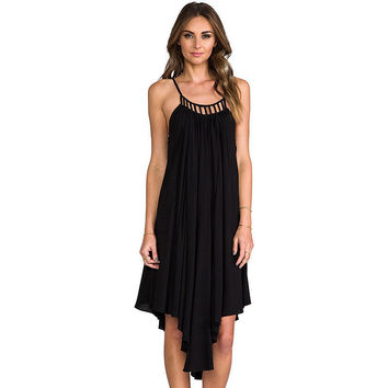 Black Halter Cutout Detail Ruched Swing Dress