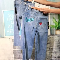 """Gucci""All-match Fashion Casual Irregular Ripped Strawberry Worn Beggar Crimping Long Pants Loose Jeans"