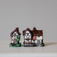 Set of 2 Miniature Hand-painted Cottages