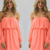 Coral Chiffon Off the Shoulder Dress with Sheer Sleeves