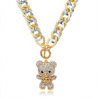 Crystal Bear Long Necklace for Women
