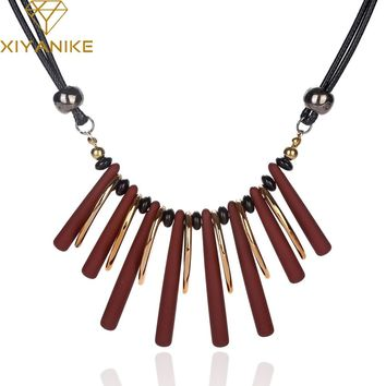 XIYANIKE New 2017 Big Brand Luxury Personality Acrylic Link Necklace Choker Jewelry For Women Necklaces & Pendants XY-N198