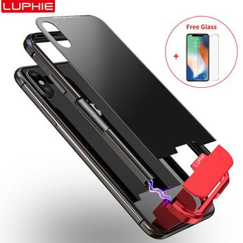 Aluminum Frame Tempered Glass Back Cellular Case For iPhone XS