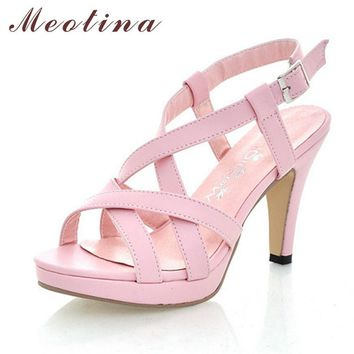 Meotina Women Sandals Gladiator Sandals Women Summer Platform Sandals Big Size 10 42 H
