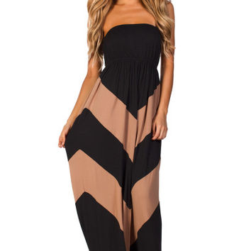 Rafaela Black and Tan Graphic Chevron Strapless Summer Maxi Dress