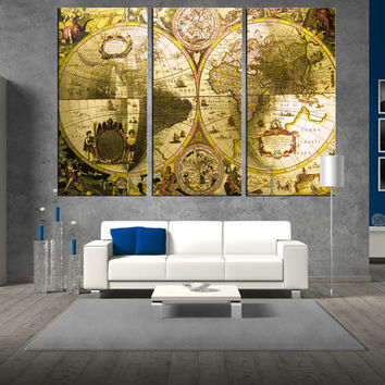World Antique Map wall art on canvas print, Large wall Art, large World Map print, extra large wall art, map of world wall decor t290