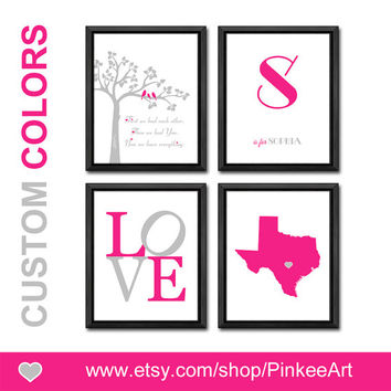 baby girl nursery pink gray baby wall art state with heart baby name print letter bird family in a tree girls room decor baby gift love