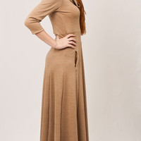 Golden Camel maxi dress, cut waistband, long half circle skirt, turtle neck, uruguayan woolen virgin fabric  // Ready to ship //
