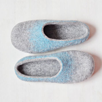 READY TO SHIP - us9 / eu 40/ uk 6,5 -Felted slippers for women - Gray Blue Turquoise - Christmas gift - Handmade slippers - Gift for women