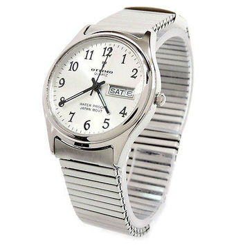Silver Brushed Finish Slim Design Expansion Band Day/Date Women's Men's Watch