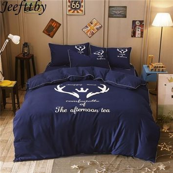 Jeefttby New Home Cartoon Christmas Deer Pattern 3/4Pcs Fit Kids Adult Bedding Set Queen Size  Duvet Cover  Bed Sheet Pillowcase