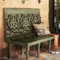 Distressed Three-Seat Bench?-?Horchow