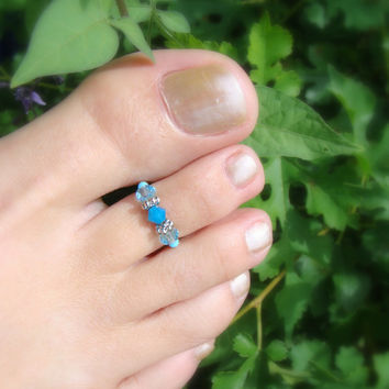 Toe Ring - Austrian Crystal - Aquamarine - Stretch Bead Toe Ring