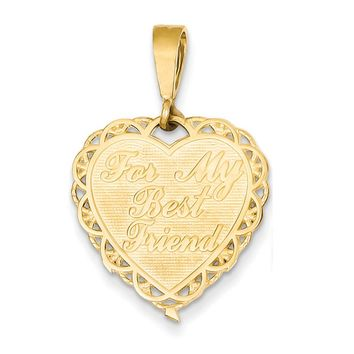 14k Yellow Gold For My Best Friend Scalloped Heart Pendant, 19mm
