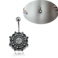 Sexy Retro Flower Crystal Navel Belly Button Ring Barbell Bar Body Piercing Jewelry