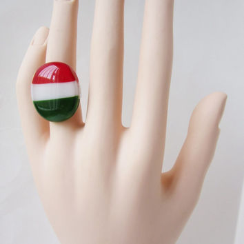 Mexico & Italy Patriotic Adjustable Ring, Statement Ring, Mexico Flag Colors, Italy Flag Colors, Red Green and White Ring, Patriotic Jewelry