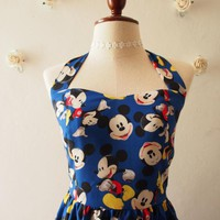 Mickey Mouse Dress Royal Blue Dress Vintage Retro Cute Summer Dress Sundress Halter Dress