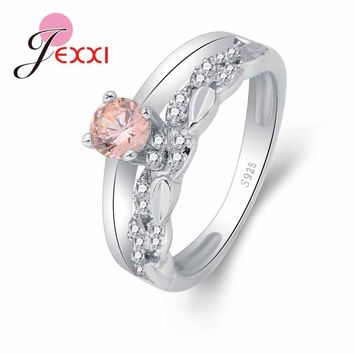Jemmin Sweet Wreath Jewelry With Pink Austrian Crystal 925 Sterling Silver Ring Women Present Party Enagaement High Quality
