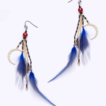 Nakamol Feather and Moon Charms Earrings in Cobalt