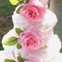 Pink Roses Diaper Cake, Shower Centerpiece, Baby Gift