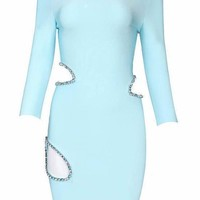 Baby Blue Rhinestone Cutout Bandage Dress
