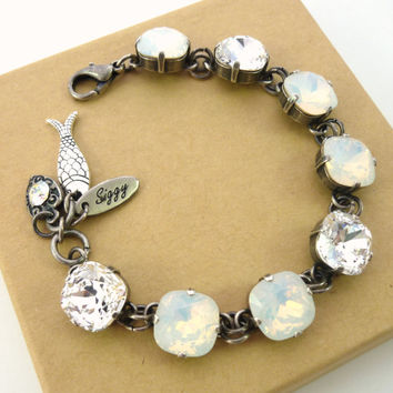 PLAYA BLANCO, 12mm Swarovski crystal cushion cut bracelet, white opal and clear, good luck charms Siggy bling