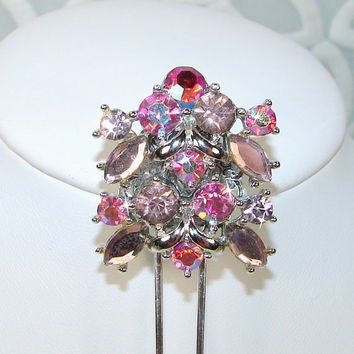 Pink Rhinestone Jewelry Hair Comb Vintage Wedding Bridesmaid MOH Bridal Aurora Borealis Jeweled Hairpiece Accessory Formal Lilac Orchid AB