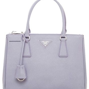Prada Wisteria Glicine Saffiano Leather Tote With Trim Shoulder Bag