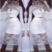Cutout Lace Two Piece Dress