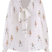 White Tie Neck Bow Girl Print Chiffon Blouse