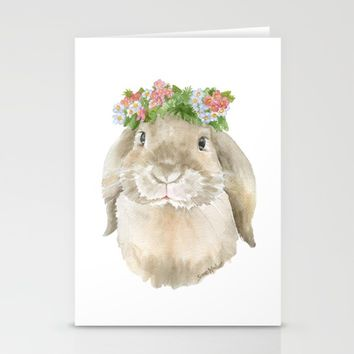 Lop Rabbit Floral Wreath Watercolor Painting Stationery Cards by Susan Windsor | Society6