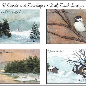 Watercolor Note Cards- Four Winter Paintings on 8 Assorted Note Cards with Envelopes- Art by Laura D. Poss