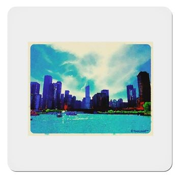 "Chicago Skyline Watercolor 4x4"" Square Sticker"