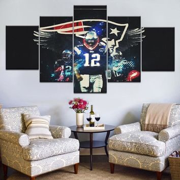 5pcs HD Printing Canvas Painting Football New England Patriots Art Group Home Decor Wall Poster Modular Picture