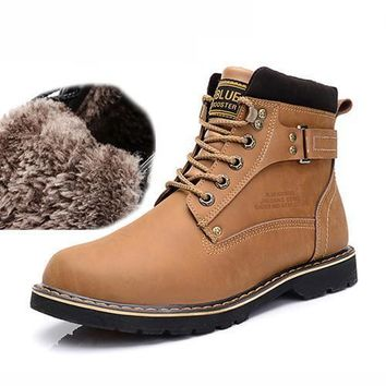 Warm Winter Leather Work Boots