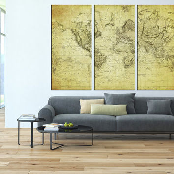 Old world map canvas art prints, vintage world map canvas prints, large wall decor, extra large wall art, antique map canvas art print t37