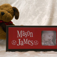Personalized Baby Nursery Picture Frames, Brown and Red Baby Boy Decor Photo Frame Custom Order