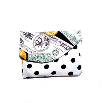 Upcycled Clothing Handmade Wallet - money - dollar - polka do - coin purse- womens clothing accessoires - hipster clothing - bohemian