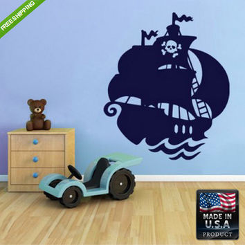rvz103 Wall Vinyl Decal Sticker Beautiful Cute Pirate Ship Bedroom