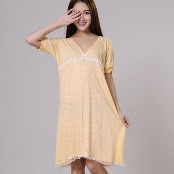 CREYCI7 100% cotton nightgowns for women summer sleepshirts 2017 new autumn v-neck female sleepwear teenage girl lounge green yellow