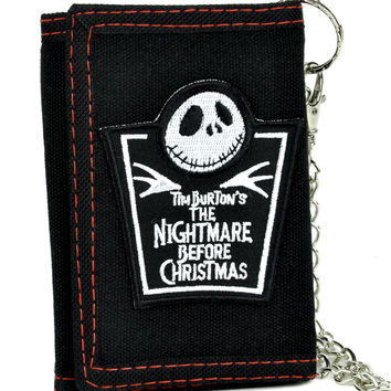 Jack Skellington Tombstone Tri-fold Wallet w/ Chain Nightmare Before Christmas