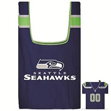 NFL Seattle SeaHawks Eco Friendly Reusable Grocery Bags with Jersey Style Storage Pouc